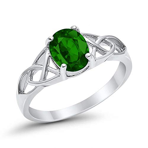 Blue Apple Co. Celtic Accent Solitaire Ring Oval Simulated Emerald 925 Sterling Silver, Size-10 ()