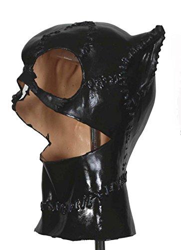 [Meow Long Black Fetish Hood Foam Latex Mask] (Latex Devil Mask)