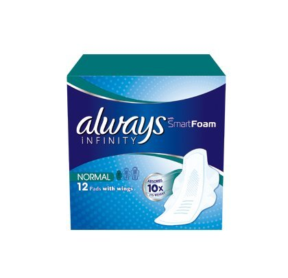 Always Infinity Normal Sanitary Towels with Wings 12 per pack (Case of 5)