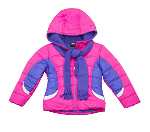 Girls Pacific Trail Heavy Weight Pink Puffer Jacket with ...