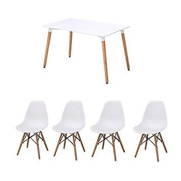 Amazon.de: Joolihome Paris Esstisch mit 4 Stühlen, aus Holz, für ...