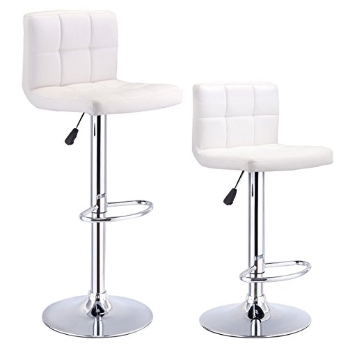 Costway Set Of 2 Swivel Black Bonded Leather Barstool Adjustable Hydraulic Bar Stool (White) - Leather Steel Bar Stool