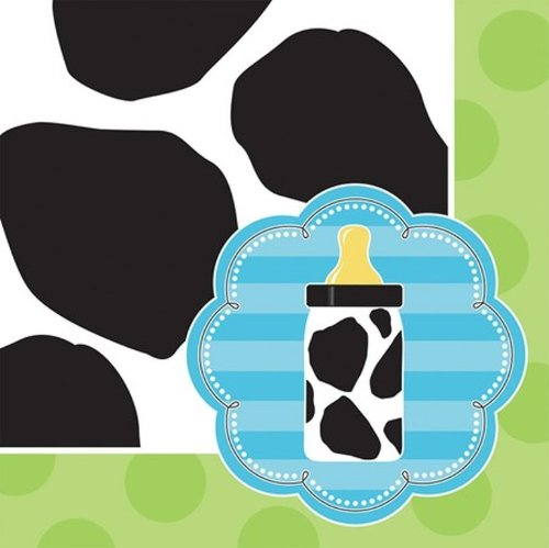 - 16-Count Paper Beverage Napkins, Baby Boy Cow Print
