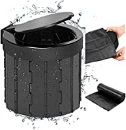 Portable Folding Toilet with Lid, Car Trash Can, Travel Toilet for Camping Car Travel Outdoor Camping Accessor