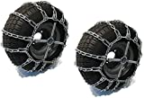 The ROP Shop | Pair of 2 Link Tire Chains & Tensioners 15x5x6 for Snow Blowers, Lawn & Garden Tractors, Mowers & Riders, UTV, ATV, 4-Wheelers, Utility Vehicles