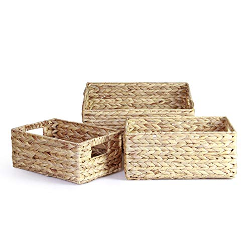 Large Natural Wicker - HandyMake Water Hyacinth Storage Baskets with Handles - Multi Purpose Natural Eco Friendly Wicker Baskets for Everyday Use - Nested Pack of 3 Including Large, Medium and Small Size (Rectangular)