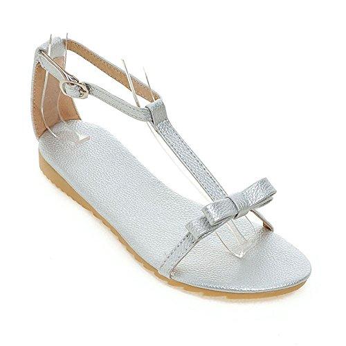 Sandalias abiertas del dedo del pie femenino de la manera Bowknot dulce bajo talón bajo tamaño 32-43 silver