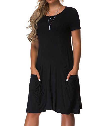 VOIANLIMO Women's Plus Size Casual Loose T Shirt Mini Dress with Pockets Black XXXXL