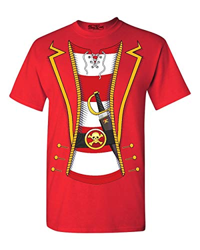 Shop4Ever Pirate Buccaneer Costume Stripe T-Shirt Large Red 0