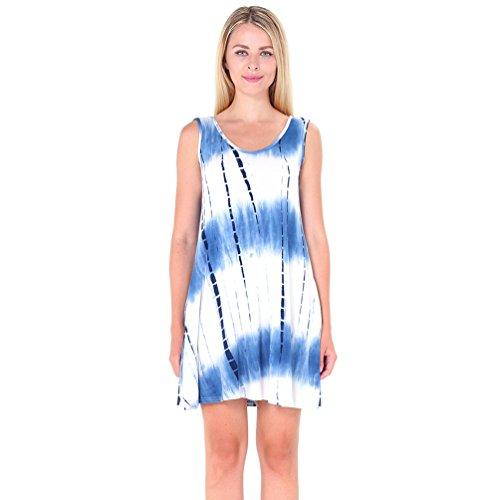 NiSeng Mujeres Moda Camiseta Vestido Casual Verano Sin Mangas Mini Vestido T-Shirt Vestido Azul