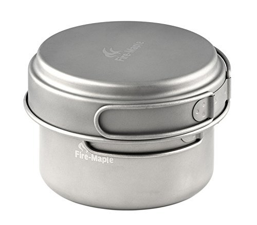 Fire-maple Fire-Maple Outdoor Titanium Camping Cookware Titanium Ti Set Pot 174g 1200ml by Fire-Maple