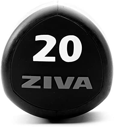 ZIVA SL Virgin Rubber Steel Tribell Studio Dumbbell for Weight Lifting, Core Training – Flat Head Prevents Rolling – Ergonomic Comfort Easy Grip – Singles, 2lb Increments – Red Gray