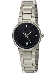 Citizen Womens Quartz Stainless Steel Watch with Date, EU6010-53E