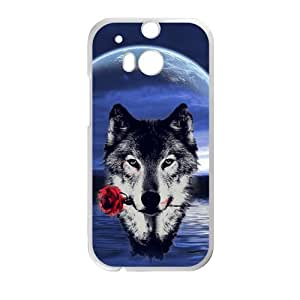 Howling wolf with Moon The wolf Mouth with roses Custom case cover for HTC One M8
