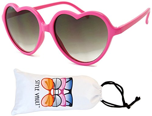 [Wm507-vp Style Vault Heart Love Plastic Sunglasses (B3196F Pink-smoked, uv400)] (70s Plastic Halloween Costumes)