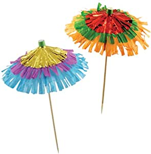 Party Partners Design Fringe Umbrella Tall Decorative Food Picks, Multicolored, 12 Count