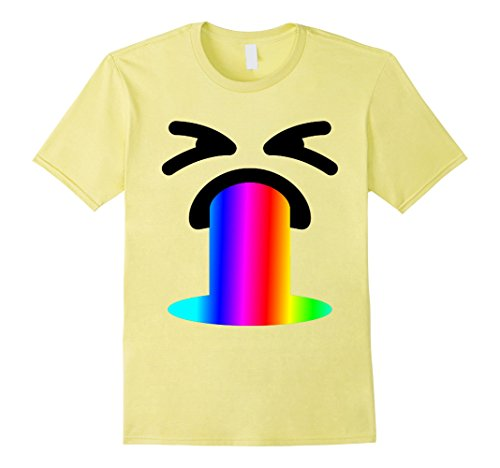Mens Funny Rainbow Throw Up Vomit Emoji Face Gift Shirt for Party XL Lemon