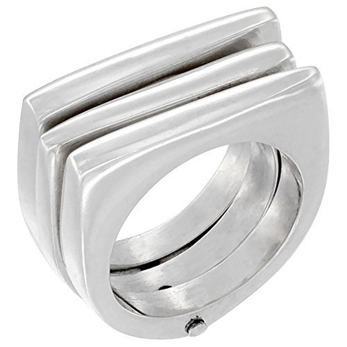 Sterling Silver Stacked Ring 3-Piece High polish Handmade7/16 inch wide, size 9 by Sabrina Silver