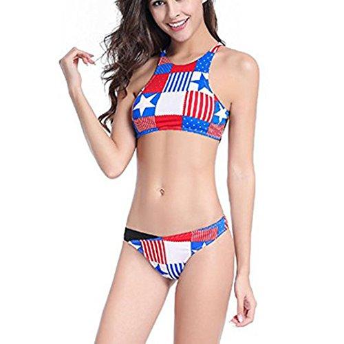 e0445e52bf Amazon.com  Fuiigo Sexy Bikini Set Patriotic Flags American Bras July 4th  Swimsuit Bikini XL  Clothing