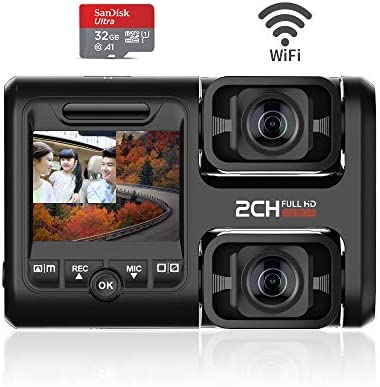 Dual Dash Cam – Dual 1080P Front and Inside, Car DVR Dash Camera Recorder with Infrared Night Vision and WiFi,WDR, Dash Camera for Car Taxi Truck