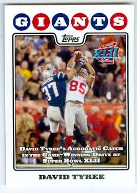 Signed 2008 Topps Card (David Tyree Football Card (New York Giants Super Bowl Champion XLII) 2008 Topps #317 The Catch)
