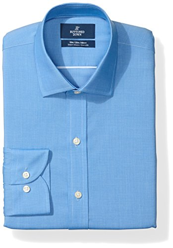 BUTTONED DOWN Men's Slim Fit Stretch Poplin Non-Iron Dress Shirt, French Blue, 17