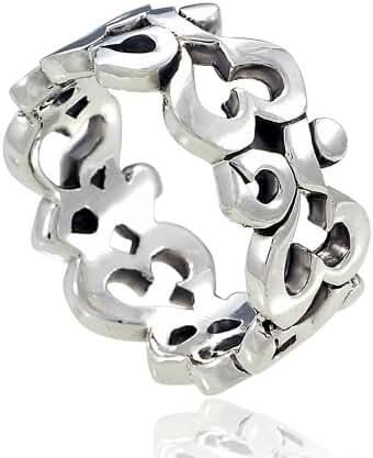925 Sterling Silver Om Ohm Aum Symbol High Polished Finish Band Ring