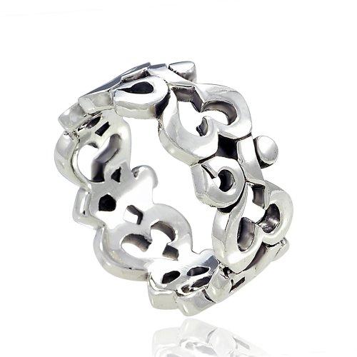 High Polished Finish (925 Sterling Silver Om Ohm Aum Symbol High Polished Finish Band Ring - Size 8)
