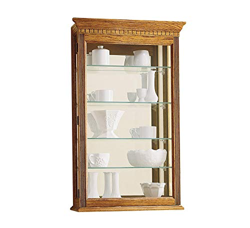 Wood & Style Furniture Montreal Curio Cabinet by Home Office Commerial Heavy Duty Strong Décor (Mantel Oak Cabinet Curio)