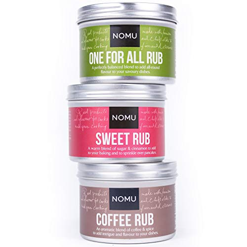 (NOMU Rub Exotic Trio Set - Coffee, Sweet & One for All Seasonings (3-pack) - Premium Blends of Herbs & Spices - No MSG or Preservatives)