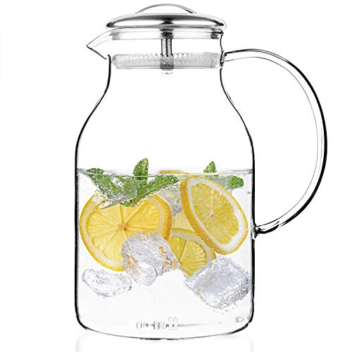 Tealyra - Glass Carafe 67.5 ounce - Stove-Top Safe - Heat Resistent Borosilicate - Large Pitcher - Teapot - Kettle - Hot and Iced Tea Water Juice Beverage - 2000ml