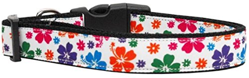 Mirage Pet Products 125-148 SM Multicolor Hawaiian Hibiscus Nylon Ribbon Dog Collar, Small