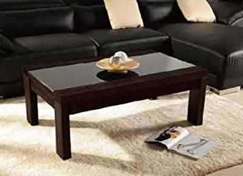 Flavia Modern Dark Brown Coffee Table With Glass Top