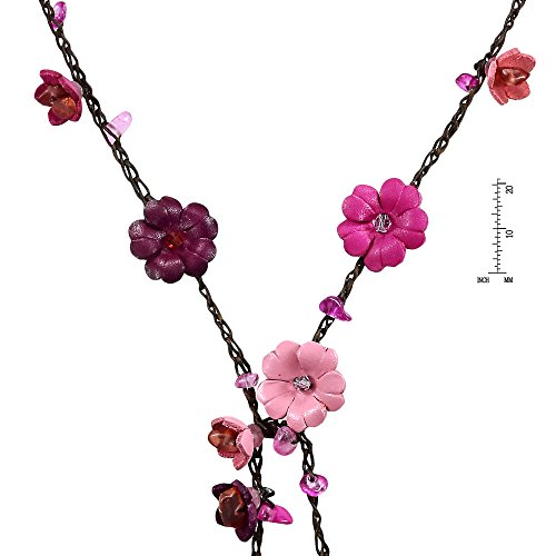 AeraVida Chic Multi Pink Daisy Floral Mix Stone Genuine Leather Lariat Wrap Necklace by AeraVida (Image #2)