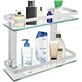 "2-Tier Bathroom Glass Shelf Shower Organizer Storage Holder Wall Mounted with Anti-Rust Aluminum Rail 14"" x 5"" x 11"" Clean Look Glass Basket Caddy for Bathroom Bedroom Kitchen – Hardware Included"