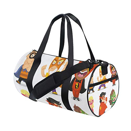 LONSANT Children Dressed As Superheroes Kids Playroom Girls Boys Nursery Babyish Picture Barrel Duffel Bag Sports Yoga Gym Fitness Bag Travel Weekender Bags for Men and Women -