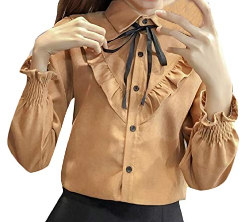 Hajotrawa Women Ruffled Flared Sleeve Lapel Neck Tie Pleated Basic Corduroy Button Down Shirts Khaki M