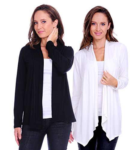 SR Women's Basic Long Sleeve Open Cardigan (Size: Small-5X), 2X, Black/Ivory ()