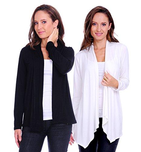 SR Women's Basic Long Sleeve Open Cardigan (Size: Small-5X), 2X, Black/Ivory