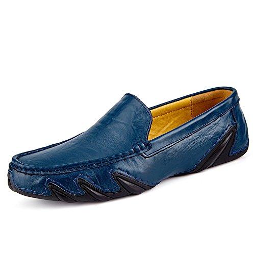 Shoes Uomini Pelle Casuale In Blu Degli Moda In Barca Sul Loafer Driving Centesimo Leovera Scivolare df0tzqxdw
