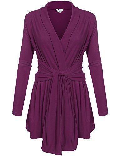 Womens Casual Long Sleeve Open Front Drape Wrap Travel Cardigan Sweater Purple M