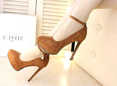 Elegant Single Work Lady Shoe Suede Heel Platform Heel 12Cm Work Leisure Hoist Shoes MDRW Brown High Fine 34 Pointed Clasp Spring Waterproof 5FxBffqn