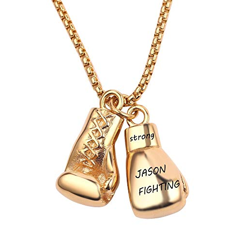 Men's necklace Personalized Custom Mini Boxing Glove Necklace Engraved Letter For Men Boys Best Gift Game Charms Fashion Sport Fitness Jewelry
