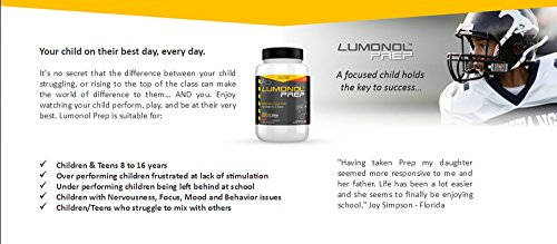 Lumonol Prep Childrens Brain Supplement Mood | Focus | Concentration | Ages 6 16 | Caffeine Free