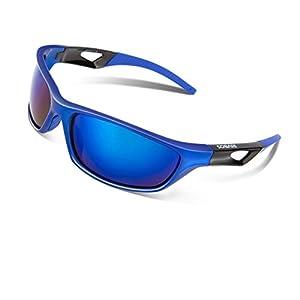 RIVBOS Polarized Sports Sunglasses Driving Sun Glasses for Men Women Tr 90 Unbreakable Frame for Cycling Baseball Running Rb831 (Blue Mirror Lens)