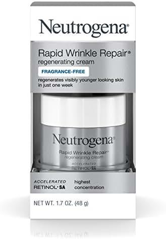 Neutrogena Rapid Wrinkle Repair Fragrance Free Moisturizing Anti-Wrinkle Retinol Cream with Hyaluronic Acid for Face & Neck, 1.7 oz