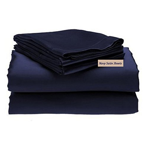 4-Piece (California) CAL KING size, SOLID NAVY BLUE Soft Silky Charmeuse Satin Sheet Set - Flat, Fitted and Pillow Cases. Deep ()