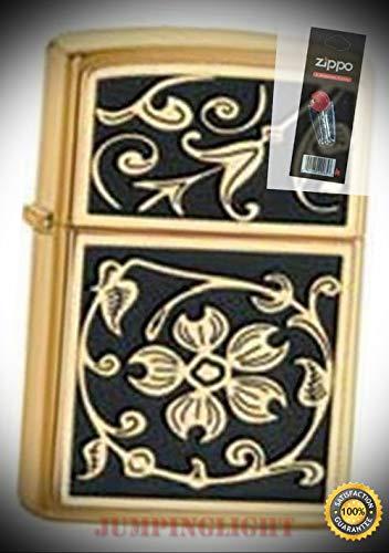 20903 Gold floural Flush Lighter with Flint Pack - Premium Lighter Fluid (Comes Unfilled) - Made in USA! - Gothic Flush