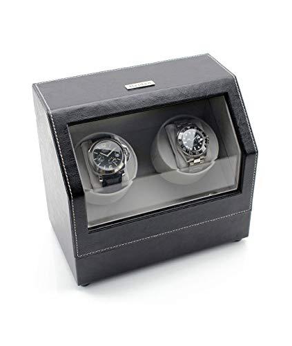 Heiden Battery Powered Double Watch Winder in Black Leather (Heiden Watch Box)