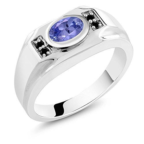 1.29 Ct Oval Diamond (1.29 Ct Oval Blue Tanzanite Black Diamond 925 Sterling Silver Men's Ring)